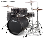 Tama Imperialstar 5 Piece Complete Drum Set w/ Hardware & Cymbals - Black Chrome Hardware