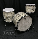 C&C Custom Drum Set Player Date 2 Big Beat 3 Piece 7 Ply Map/Mah/Map in Black & White Oyster - 22,13,16