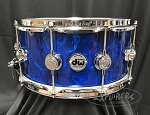 DW Snare Drum Collectors Series 6.5x14 Cherry Mahogany w/ Chrome Hardware - Blue Moonstone