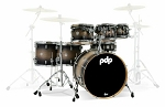 DW PDP Drum Set Concept Series Maple 7 Piece Shell Pack in Satin Charcoal Burst