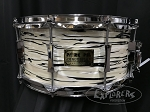 Pork Pie Custom Snare Drum USA 6.5x14 Maple 8 Ply Shell w/ Reinforcement Rings in White Tiger Oyster