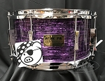 Pork Pie Snare Drum USA Custom 7x13 Maple 6 Ply Shell in Purple Oyster - Explorers Exclusive