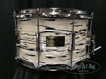 Pork Pie Custom Snare Drum USA 8x14 Maple 8 Ply Shell w/ Reinforcement Rings in White Tiger Oyster