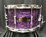 Pork Pie Snare Drum USA Custom 8x14 Maple 6 Ply Shell in Purple Oyster - Explorers Exclusive