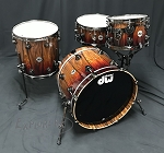 DW Drum Set Collector's Series Exotic 4 Piece Maple / Mahogany Shell Pack in Rich Red Fade over Santos Rosewood w/ Black Nickel Hardware - 20, 12, 14, 6x14