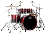 Mapex Drum Set Saturn Rock 4 Piece Maple / Walnut Shell Pack in Scarlet Fade Lacquer