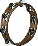 Meinl Wood Tambourine Steel Jingles 2 Rows Walnut Brown
