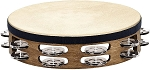 Meinl Headed Wood Tambourine Steel Jingles 2 Rows - Walnut Brown