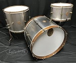 A&F Drum Co. Drum Set 3 Piece Raw Steel Shell Pack w/ Whiskey Maple Bass Hoops - 22,16,13