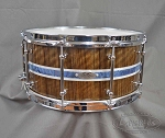 C&C Custom Snare Drum 6.5x14 Maple Gum w/ Outer Ply of Teak - Mother Of Pearl Abalone Inlay