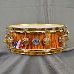 DW 5.5x14 Exotic Natural Lacquer Over African Chechen Snare Drum W/ Gold Hardware