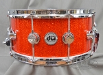 DW Snare Drum Collectors Series 6.5x14 Cherry Mahogany w/ Chrome Hardware - Super Tangerine Sparkle