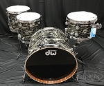 DW Drum Set Collector's Series 4 Piece Maple / Mahogany Shell Pack in Black Oyster Glass w/ Chrome Hardware