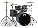 PDP Drum Set Concept Series Maple 5 Piece Shell Pack in Satin Charcoal Burst w/ Chrome Hardware