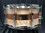 Pork Pie Snare Drum USA Custom 6.5×14 Brandied Peach with Mahogany Stripe 8 Ply Maple Shell