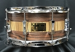 Pork Pie Snare Drum USA Custom 6.5x14 Rosewood/Zebrawood 8 Ply Maple Shell in Satin Oil Finish