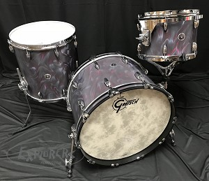 Gretsch Drum Set Brooklyn Series 3 Piece Maple/Poplar Shell Pack w/ Chrome Hardware - Black Satin Flame - 22,13,16