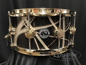 DW Snare Drum Collector's Series 6.5x14 Cherry Mahogany Shell in Smoke Glass Contrail w/ Gold Hardware
