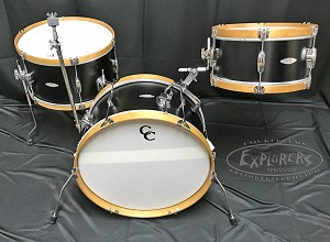 C&C Custom Drum Set Super Flyer 3 Piece 6 Ply Maple Gum in Ebony Finish w/ Natural Hoops