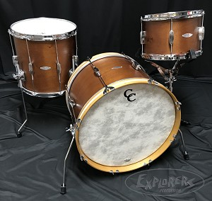 C&C Custom Drum Set Player Date 1 3 Piece 7 Ply Mahogany w/ Vintage Fold Out Spurs in Brown Mahogany Satin  - 20,12,14