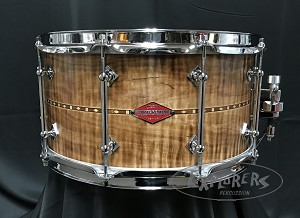 Craviotto Snare Drum Custom Private Reserve 7x14 Curly Maple Shell w/ Walnut Inlay & 45 Edges - Burned Maple / Oil FInish