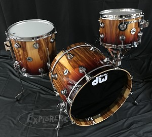 DW Drum Set Collector's Series Exotic 3 Piece Cherry Mahogany Shells in Rich Red Fade over African Chechen