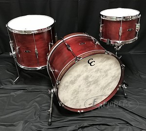 C&C Custom Drum Set Player Date 2 Big Beat 3 Piece 7 Ply Maple/Mahogany in Cherry Cola Stain - 22, 13, 16