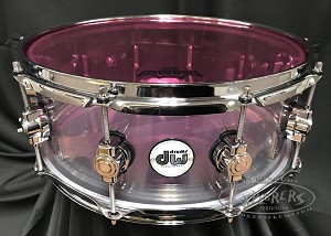 DW Snare Drum Design Series 5.5x14 Clear Acrylic Seamless Shell w/ Remo Pink Colortone Drum Head