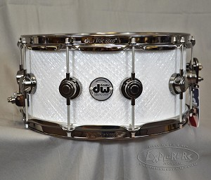 DW Snare Drum Collector's Series 6.5x14 Maple w/ Black Nickel Hardware - White Crystal