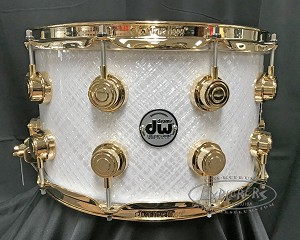 DW Snare Drum Collector's 8x14 Maple Mahogany w/ Gold Hardware - White Crystal