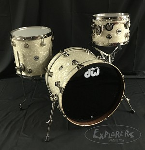 DW Drum Set Collector's Series 3 Piece Maple Mahogany Shell Pack in Vintage Marine Pearl w/ Nickel Hardware