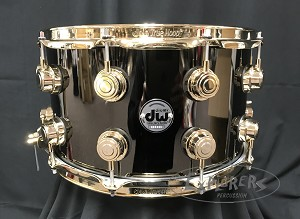DW Collectors Series 8x14 Black Nickel over Brass Snare Drum - Gold Hardware