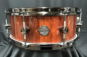 Doc Sweeney Snare Drum USA Custom St. Elmo's Fire 5.5x14 Stave Redheart Shell/ Black Nickel Hardware & Dual 45 Edges