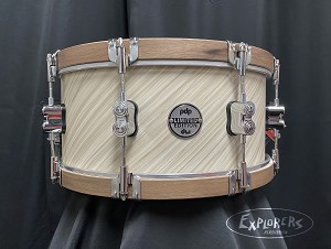 DW PDP Limited Edition Concept Maple Twisted Ivory Snare Drum with Walnut wood Hoops