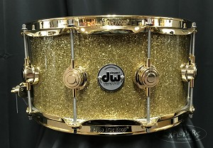 DW Collectors Snare Drum Gold Glass with Gold Hardware 6.5x14 maple shell