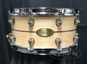 Pearl Snare Drum Music City Custom 6.5x14 Maple Solid Shell w/ Kingwood Center Inlay