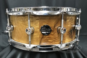 Doc Sweeney Snare Drum USA Custom Burl 6x14 Stave Myrtlewood Shell w/ Polished Chrome Hardware & 45 Round-Over Edges