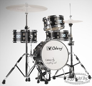Odery Cafe Kit Portable Drum Set with Hi-Hat Stand and Bass Pedal - Black