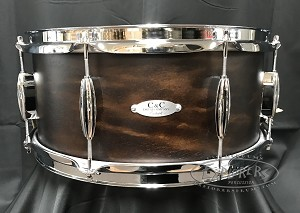 C&C Custom Snare Drum 6.5x14 Player Date 2 7 Ply Maple/Mahogany/Maple Shell - Walnut Satin Stain