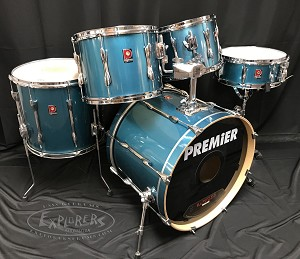 Used Premier Drum Set XPK Series 5 Piece Shell Pack in Turquoise Sparkle Lacquer