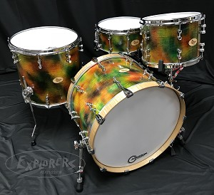 "Doc Sweeney Drum Set USA Custom ""Twisted Rainbow"" 4 Piece Tiger Maple Shell Pack"