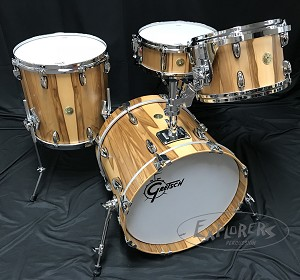 Gretsch Drum Set USA Custom Exotic 4 Piece Maple/Gum Shell Pack in Exotic Red Gum Veneer