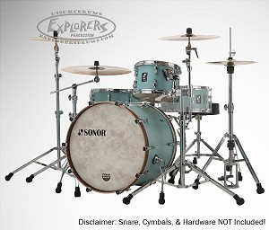 Sonor Drum Set SQ1 Series 100% European Birch 3 Piece Shell Pack - Crusier Blue w/ Walnut Bass Drum Hoops