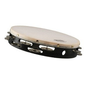 "Grover Pro 10"" German Silver Double Row Synthetic Tambourine"