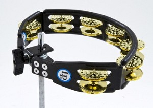 LP Cyclops Jingle Tambourine - Dimpled Brass/Black/Mountable