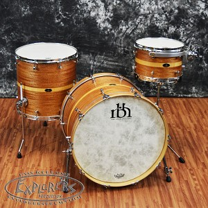 RBH Custom Drums Hand Made Three Piece Mahogany/Maple Monarch Drum Set with Birdseye Maple Inlay